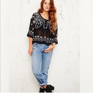 Free People Pennies Sequel Black & White Blouse